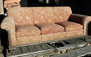 Vintage Early 20th Century Country Queen Anne 3 Cushion Sofa-granny Style