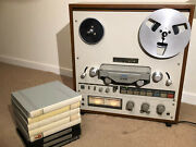 Teac X10-r Reel To Reel Deck. Bi-directional Record Wooden Case + 8 Tapes Basf