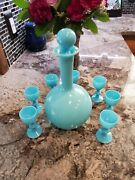 Antique French Portieux Vallerysthal Blue Opaline Glass Decanter And 7 Cordials