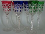 Vintage Large Roemer 6 Wine Glasses Crystal Baccarat Pattern Height 8,46 S.1151