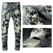 New Italy Pop Style Menand039s Ripped Pants Stars Embroidery Skinny Blue Jeans Am694c