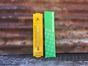 Vintage John Deere Yellow Metal Thermometer Made In Usa 3x13 Tractor Lawn Mower