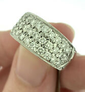 Vintage 1.0ctw Diamond Pavé Style Band Ring In 14k White Gold Size 6 Very Fine