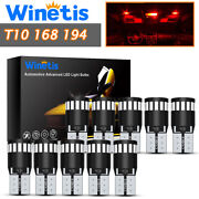 10pcs 21smd Super Red T10 Wedge Canbus Led License Plate Light Bulb 194 168 2825