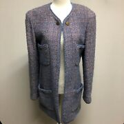 Vintage 97a Boucle Tweed Jacket Pink And Blue Multicolor Cc Logo Buttons
