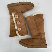 Ugg Chestnut Bailey Button Triplet Ii Tall Boots Womens Size 7 Brown Tan 1016227