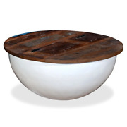 Vidaxl Coffee Table Solid Reclaimed Wood Bowl Shape Couch Stand White/black