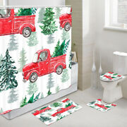 Red Truck Green Christmas Tree Shower Curtain Toilet Cover Rug Mat Contour Rug