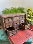 India Antique Wooden Hand Crafted Painted Cabinet Box With Drawers And Latch