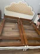 Vintage White French Provincial King-size Bed Headboard And Frame