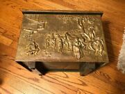 Antique Peerage Colonial Brass Relief Coal Hod Fireplace Wood Trunk Chest Box