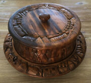 Vintage Carved Wood Lazy Susan And Covertropical Tiki Bar Style Serving Tray Cake