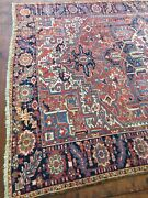 Antique Used Old Per Sian Handmade Wool Rug Carpet Size11 Ft By 7.8 Ft