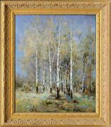 Framed Oil Painting Signed By H Mike Winter Forest Scenery Russian Landscape