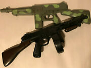 Lot Of 2 Vintage Camo And Regular Marx Plastic 19in Tommy Gun Toy Noise Guns