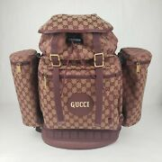 Beige/bordeaux Canvas Large Cylindrical Side Pouches Backpack 562911 9866