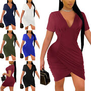 Womens Sexy V Neck Bodycon Dresses Ladies Short Sleeve Party Club Pullover Dress