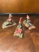 Lot Of 3 Tom Clark Gnomes Race Car Indy Monty Dog-leg All Signed