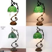 Style Table Lamp Stained Glass Reading Banker Night Light Green Wisteria