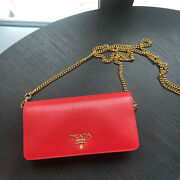 Prada Logo Plaque Leather Wallet On Chain Red New Ori1199