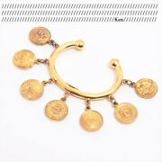 Bracelet Bangle Auth Coco Mark Chain Vintage Rare Coin Medal 27 Gold F/s