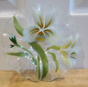 Sydenstricker Fused Art Glass Ruffled Edge Bowl W White Lilies - 6 3/4andrdquo