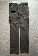 Womens Miss Me Brown Crystal Cross Cp1270 Cargo Pants Flap Studs Size 27