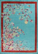 Vegetable Dye Art Deco Chinese Area Rug Hand-knotted Wool Oriental Carpet 9and039x12and039