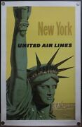 1960 United Air Lines New York City Stan Galli Airlines Vintage Poster Original