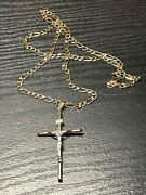 14k Solid Yellow Gold 5mm 26 Figaro Link Necklace W/ Crucifix Pendant Not Scrap