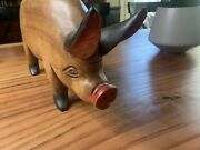 Large Solid Wood Craved Pig Decor Collectible Boar Male 16.5 Inches Long Kitchen