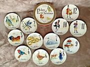 Williams Sonoma 12 Days Of Christmas 12 Plates In Drum Open Box Not Used 8 1/2