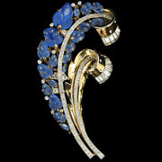 Trifari Philippe Gold Pave Blue Fruit Salad 2x Spiral Floral Swirl Pin Clip