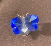 Vintage Iris Arc Crystal Miniature Collection Butterfly With Blue Wings Figure