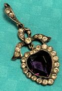 Antique French Silver Diamond Paste And Amethyst Paste Heart Shape Pendant 19th C