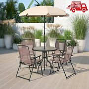 6piece Brown Patio Garden Furniture Set With Umbrella Table And Set Of 4 Folding