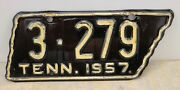 Vintage 1957 Tennessee Motorcycle License Plate - Knox County Shellacked Orig.