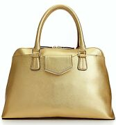 Nwt 228 Calvin Klein Saffiano Leather On My Corner H3gd11rp Satchel Bag Gold