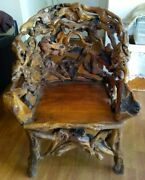 Rare Antique Handmade Burl Wood Chair. Amazing Piece Heavy And Sturdy Must See