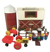 Vintage Fisher Price Barn Silo People Animals Horse Fencing Western Town