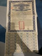 China 1896 Chinese Imperial Government Andpound25 Gold Coupons Not Cancelled Bond Loan