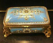 Antique 19th.jewelry Box Enameled Opal Decorated With French Bronze Ornaments