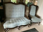 Vintage Walnut Wood, Caned, High Back French Country Settee And Chair Exc. Cond.