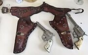 Vintage Red Ranger Double Leather Holster Set With Texan Cap And Gene Autry Toy