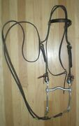 New Double Leather Western Bridle Etched Crockett Curb Bit Reins Horse Tack Lot