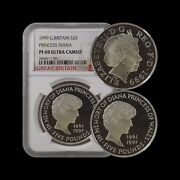 Great Britain 5 Pounds 1999 Silver - Ngc Pf69 - Diana Memorial Proof Rare