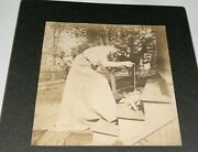 Rare Antique Victorian American Idand039d Woman Cat Playing With String Cabinet Photo