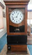 Antique Oak 1925 International Time Recorder - Clock And Punch Working Great