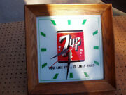 Vintage 7-up 7up Clock Lighted Advertising You Like It...it Likes You Decent