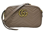 Quilting Small Shoulder Bag Leather Beige Gg Marmont Matt Gold Simple Used